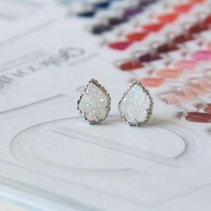 NEW Kendra Scott Tessa Silver Stud Earrings Drusy